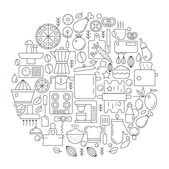 Emblème de ligne d'équipement de cuisine outils