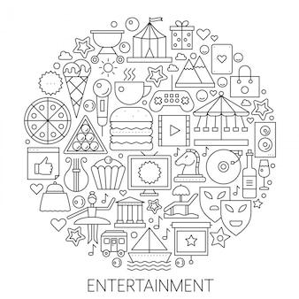 Emblème de ligne infographie divertissement