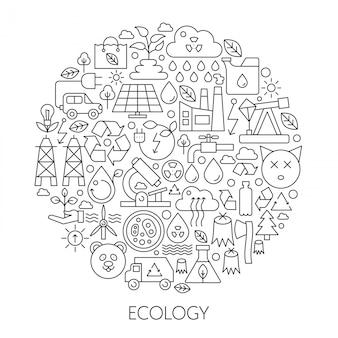 Emblème de ligne de technologie écologie verte