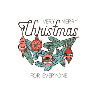 Emblème linéaire joyeux chridtmas avec typographie, texte et calligraphie. étiquette, étiquette ou logo festif de doodle pour carte de voeux ou bannière avec branche d'épinette et décorations