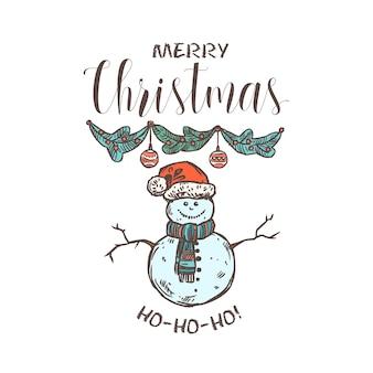 Emblème linéaire joyeux chridtmas avec typographie, texte et calligraphie. étiquette, étiquette ou logo festif de doodle pour carte de voeux ou bannière avec guirlande et bonhomme de neige