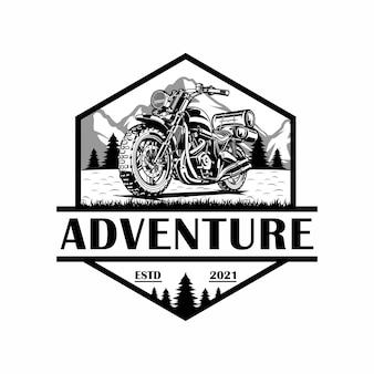 Emblème de logo d'aventure classique de moto