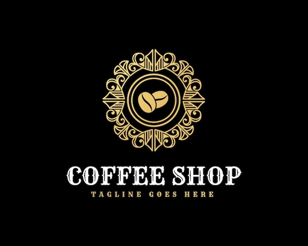 Emblème de logo de café vintage de luxe rétro avec cadre ornemental décoratif pour café café