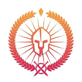 Emblème, logo avec casque spartiate sur blanc, illustration vectorielle