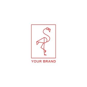 Emblème de logo de flamingo rose géométrique simple monoline