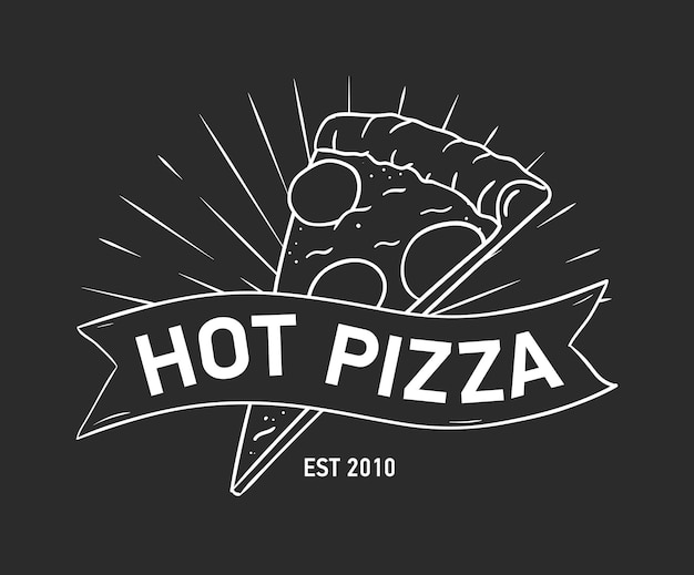 Emblème ou logo avec tranche de pizza et ruban, ruban adhésif ou bande dessinée à la main avec des lignes de contour sur fond noir