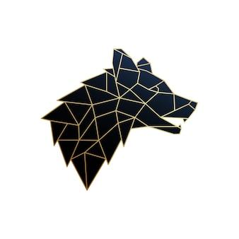 Emblème de loup polygonal doré isolé sur fond blanc