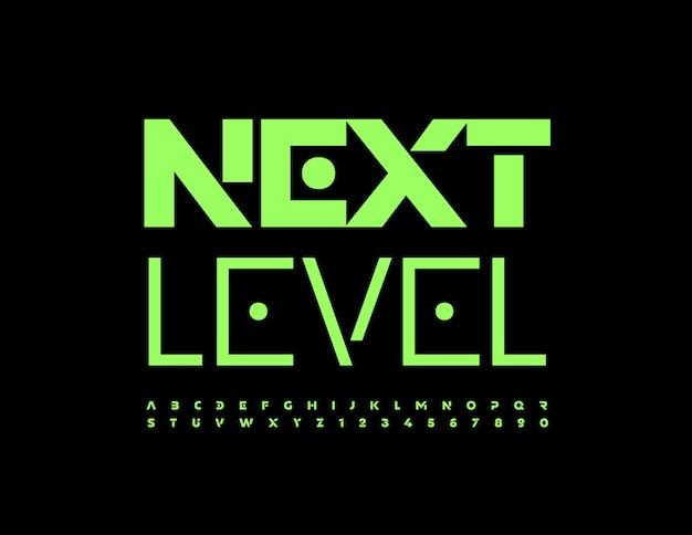 Emblème lumineux de vecteur next level green techno font ensemble moderne de lettres et de chiffres de l'alphabet