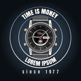 Emblème de magasin de montres de poignet classique