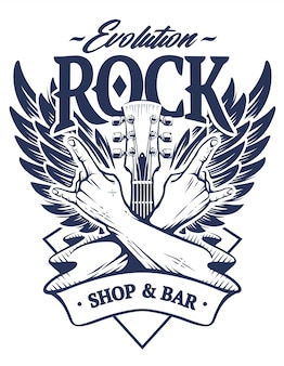 Emblème avec mains croisées signe geste rock n roll, manche de guitare et ailes. modèle d'emblème de rock monochrome.