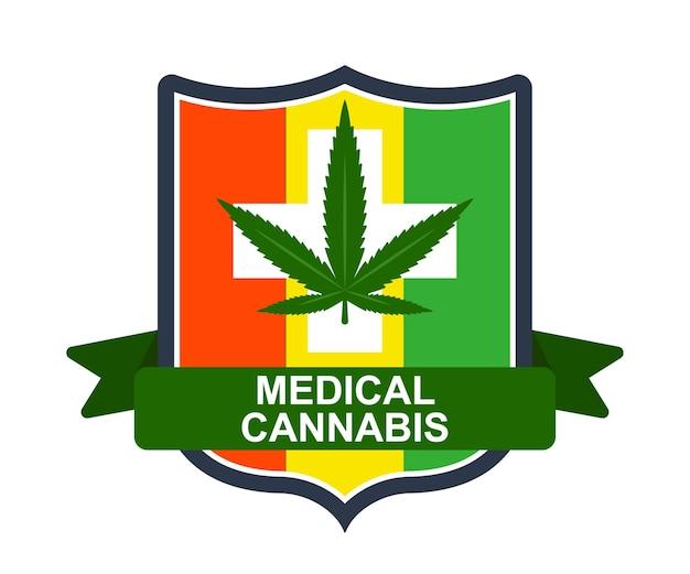 Emblème de la marijuana médicale. drapeau rastaman. illustration vectorielle plane
