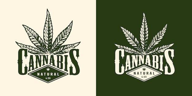 Emblème de marijuana monochrome vintage