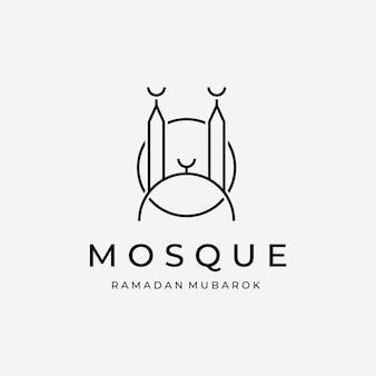 Emblème minimaliste de la mosquée line art vector logo, illustration design du ramadan mubarak kareem concept