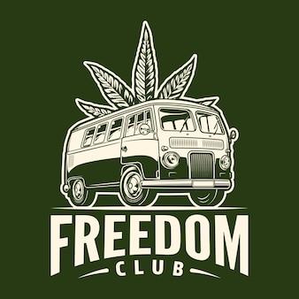 Emblème monochrome de cannabis