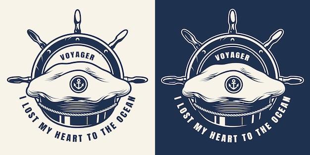 Emblème monochrome marin vintage avec chapeau de capitaine de mer et roue de navire isolée