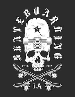 Emblème monochrome de skateboard vintage