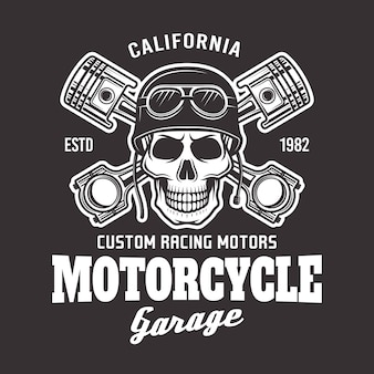 Emblème de motard vecteur garage moto