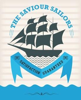 Emblème nautique vintage avec voilier