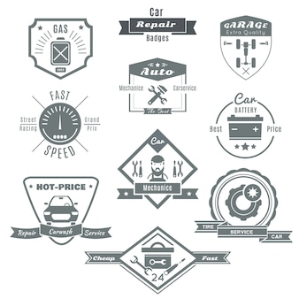 Emblème noir de réparation de voiture