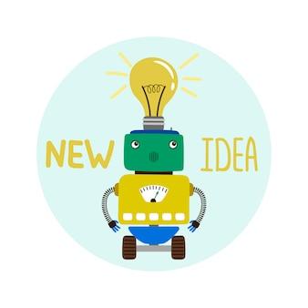 Emblème de nouvelle idée de robot garçon mignon