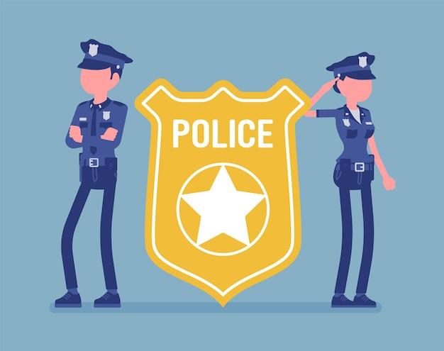 Emblème d'officier de police et policiers