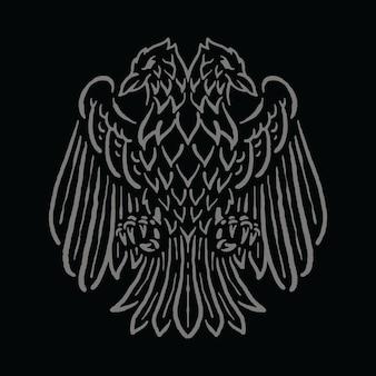 Emblème d'oiseau avec deux têtes art illustration t-shirt