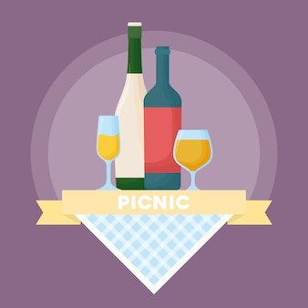 Emblème de pique-nique avec ruban décoratif et bouteilles de vin et champagne sur fond violet, colorf