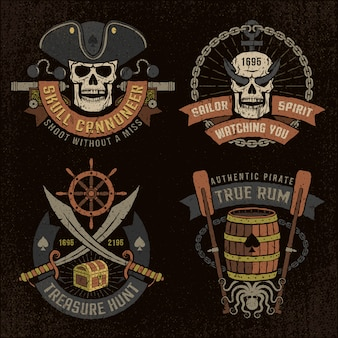 Emblème de pirate avec des crânes