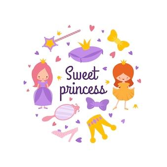 Emblème de princesse de personnage de dessin animé avec couronne, baguette magique, coeurs