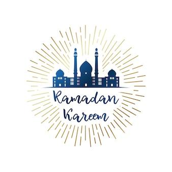 Emblème de ramadan kareem avec mosquée.