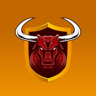 Emblème réaliste de mascotte de buffle rouge