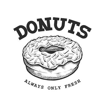 Emblème rétro de beignet. modèle de logo avec lettres noires et blanches et croquis de beignet. illustration vectorielle eps10.