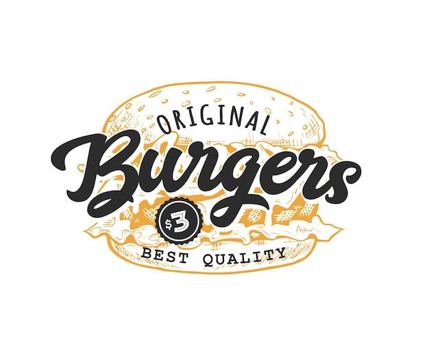 Emblème rétro de hamburger. modèle de logo avec des lettres noires et un croquis de hamburger jaune. illustration vectorielle eps10.