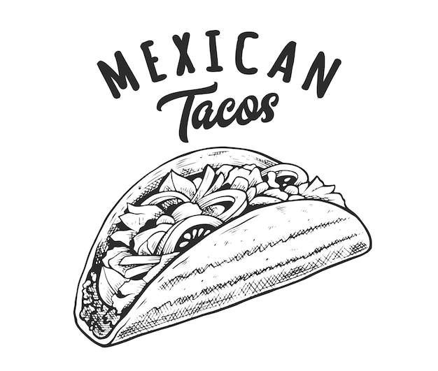 Emblème rétro de tacos. modèle de logo avec des lettres en noir et blanc et croquis de tacos. illustration vectorielle eps10.
