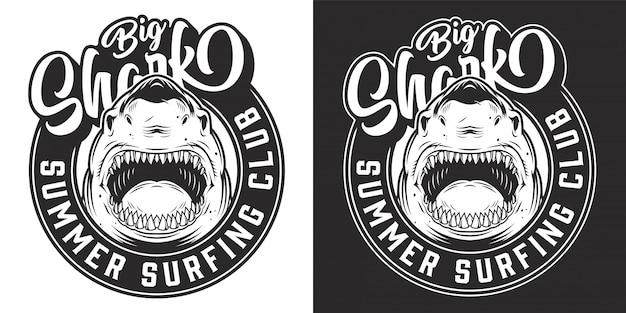 Emblème rond de club de surf vintage