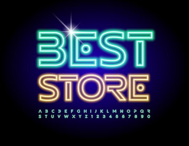 Emblème rougeoyant de vecteur meilleur magasin police de lumière électrique lettres et chiffres de l'alphabet néon créatif
