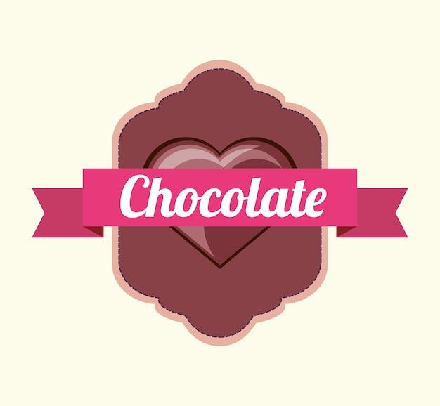 Emblème avec ruban décoratif et coeur de l'icône de chocolat sur fond blanc