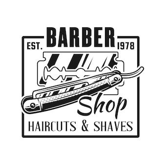 Emblème de salon de coiffure avec rasoir droit isolé