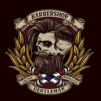 Emblème de salon de coiffure vintage avec crâne