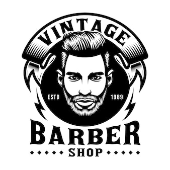 Emblème de salon de coiffure vintage avec visage d'homme barbe