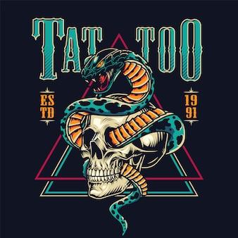 Emblème de salon de tatouage coloré