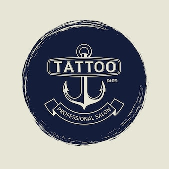 Emblème de salon de tatouage vintage avec ancre