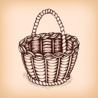 Emblème de signe de panier en osier