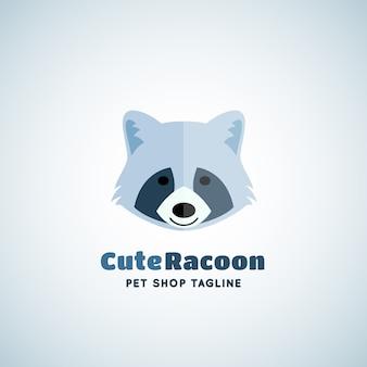Emblème de signe de raton laveur mignon ou modèle de logo. visage drôle de raton laveur dans un concept de style plat avec une typographie moderne.