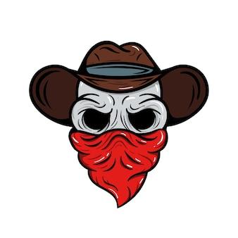 Emblème de sport de logo de cowboy de crâne