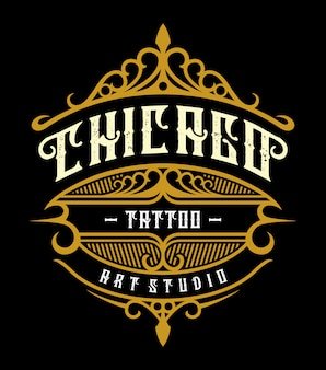 Emblème de studio de tatouage vintage