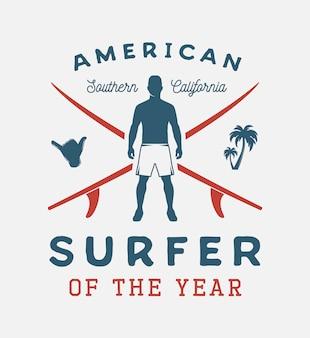 Emblème de surf américain en californie avec homme