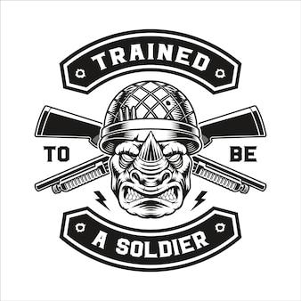 Emblème d'un t-shirt de soldat rhinocéros.