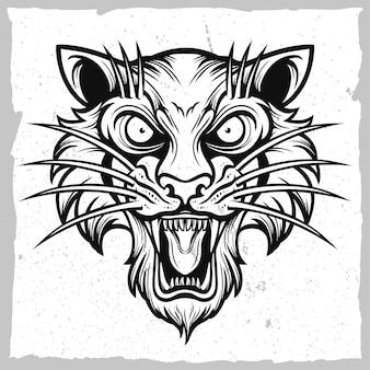 Emblème tête de tigre noir et blanc