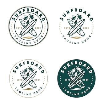 Emblème timbre société de planche de surf insigne de cocotier pour un logo d'équipe de surfeur
